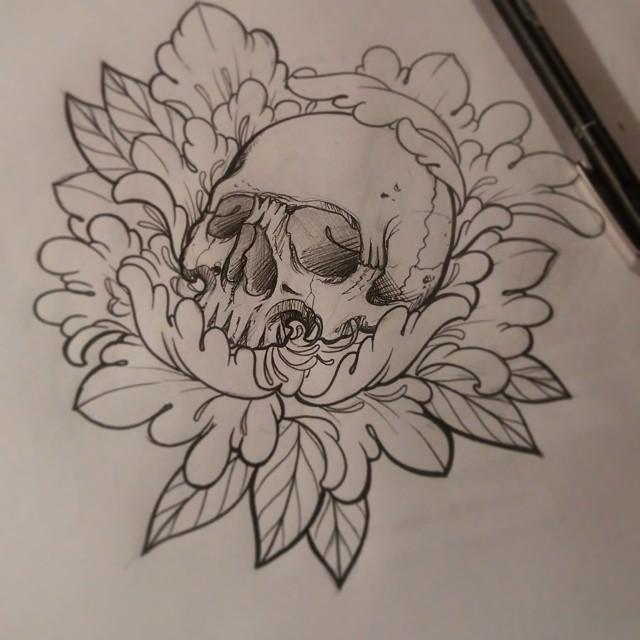 Drawn peony skull Design  Resultado / design