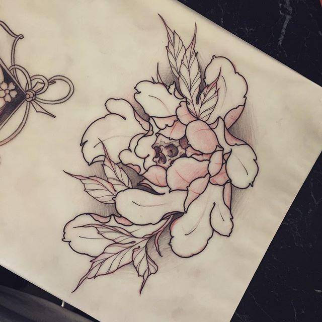 Drawn peony skull To thing tattoo!! tattoo!! peony