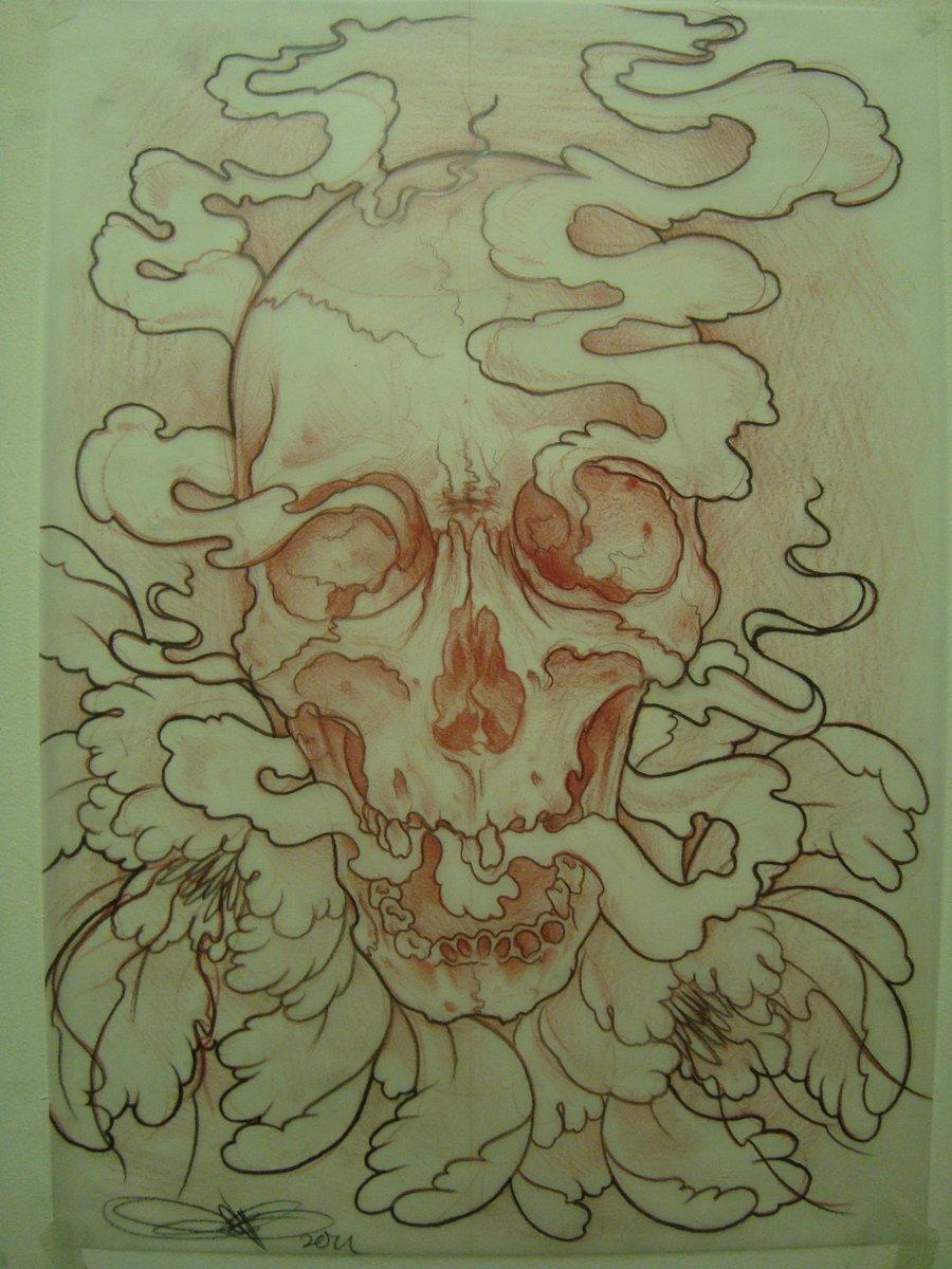 Drawn peony skull Deviantart com com AsatorArise sketch