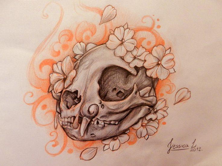Drawn peony skull #cat on #skull tattoo Cat