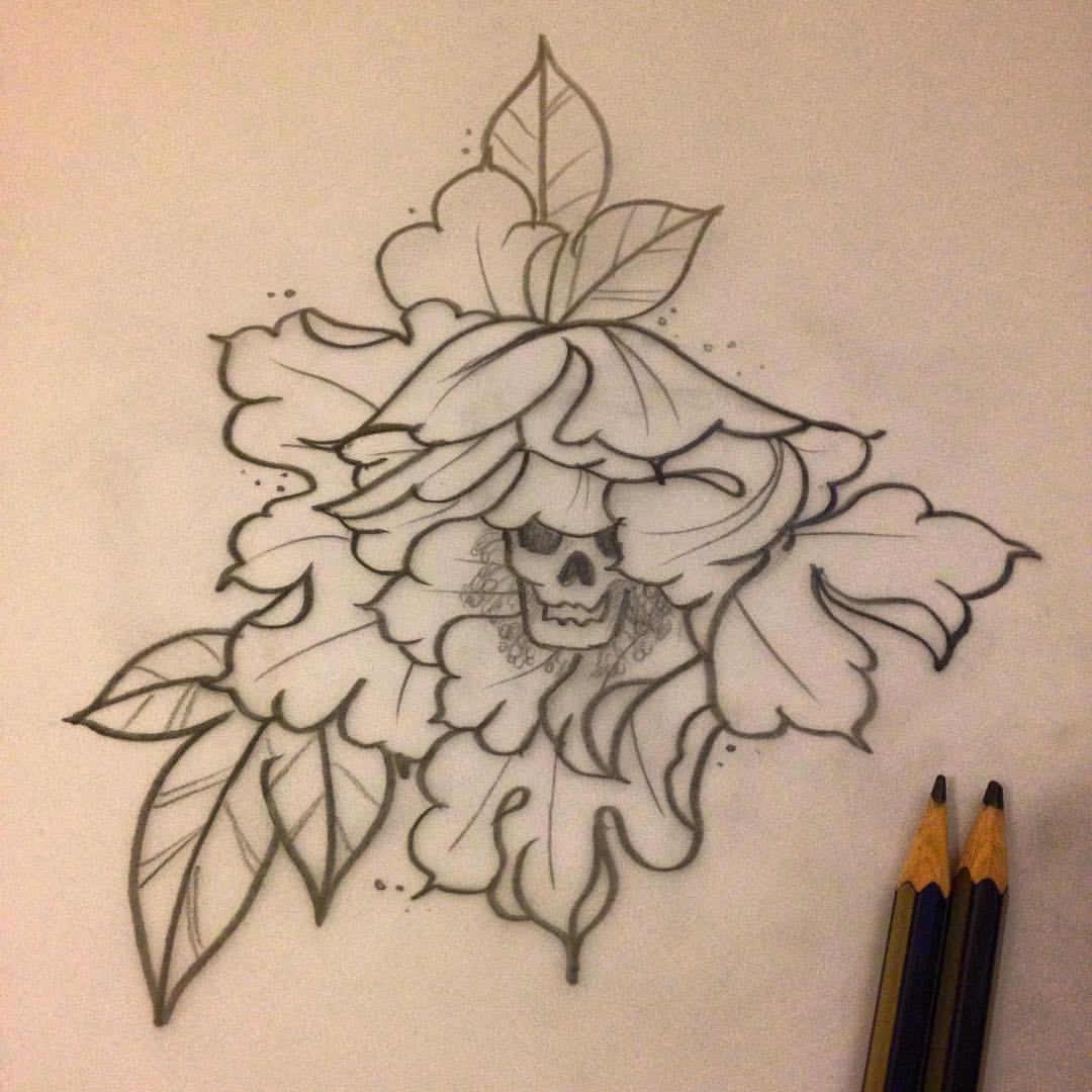 Drawn peony skull Tattoo  Stencil Stencil Flower