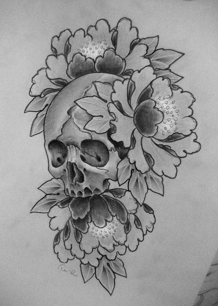 Drawn peony skull DeviantART skull  deviantART skull