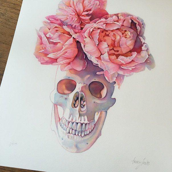 Drawn peony skull Love the on tattoo Pinterest