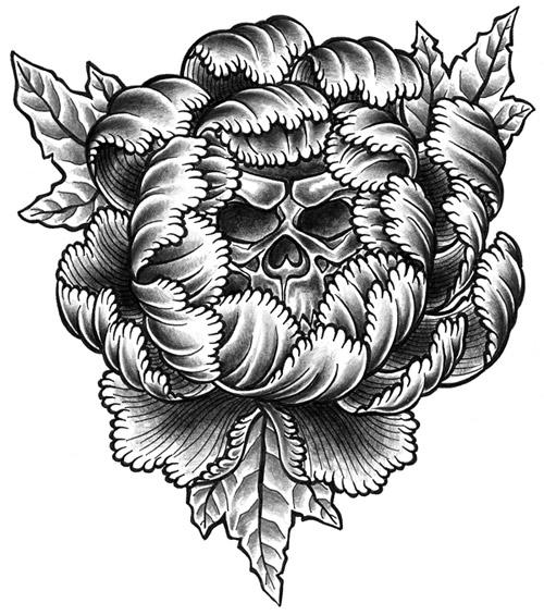 Drawn peony skull Drawing tattoos peony Flower stuff