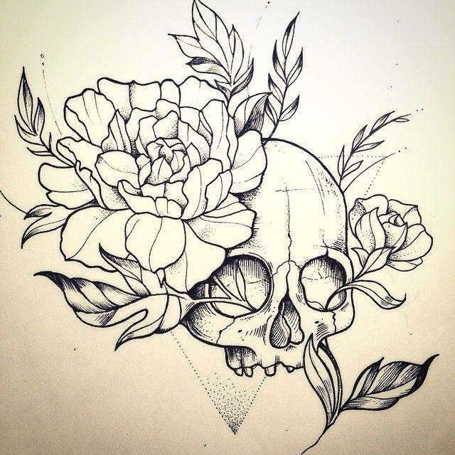 Drawn peony skull 20+ Skull Design Más Miss
