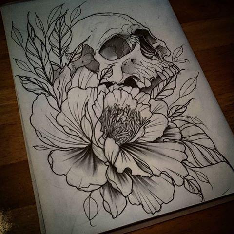 Drawn peony skull #tattooworkers #tattoolife and Instagram videos