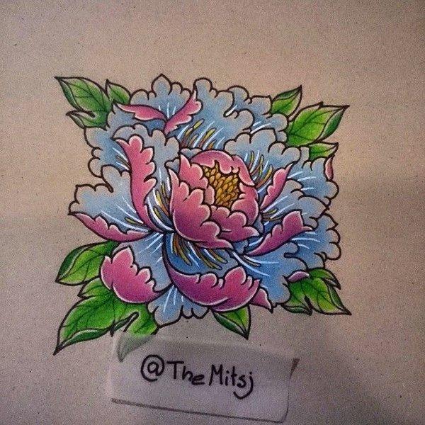 Drawn peony traditional japanese flower Peony Google tattoo  Google