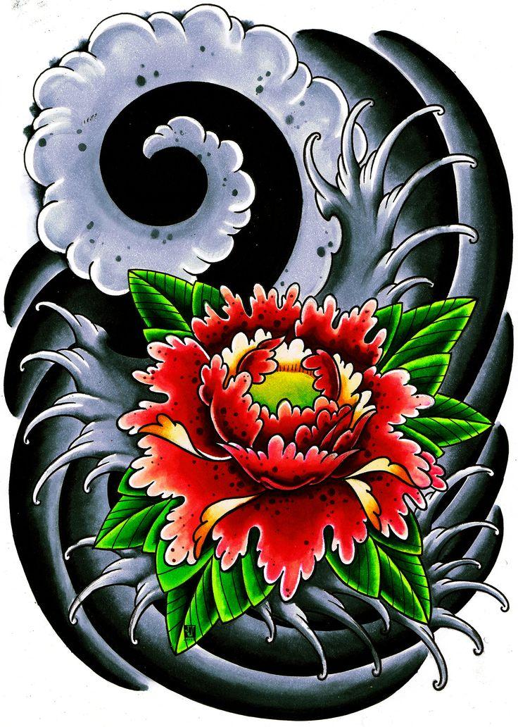 Drawn peony traditional japanese flower Flower ideas flower on Pinterest