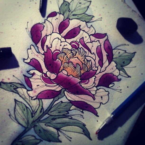 Drawn peony traditional japanese flower Tattoo ideas peony TattooTattoo Pinterest