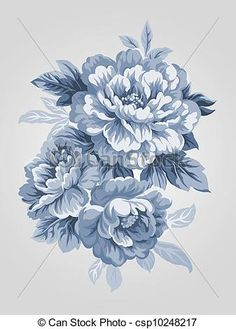 Drawn peony vintage With drawing  Vector hand