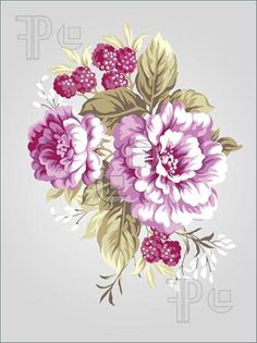 Drawn peony vintage floral More Find beige Stock vector