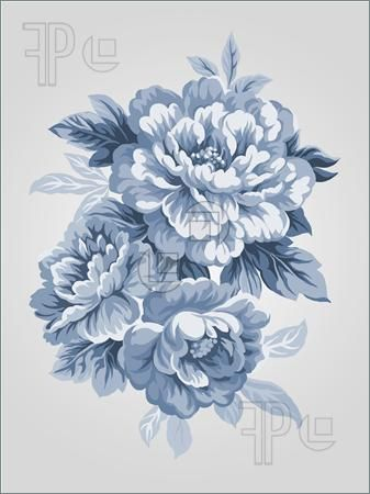 Drawn peony vintage rose Illustration hand Best China Blue
