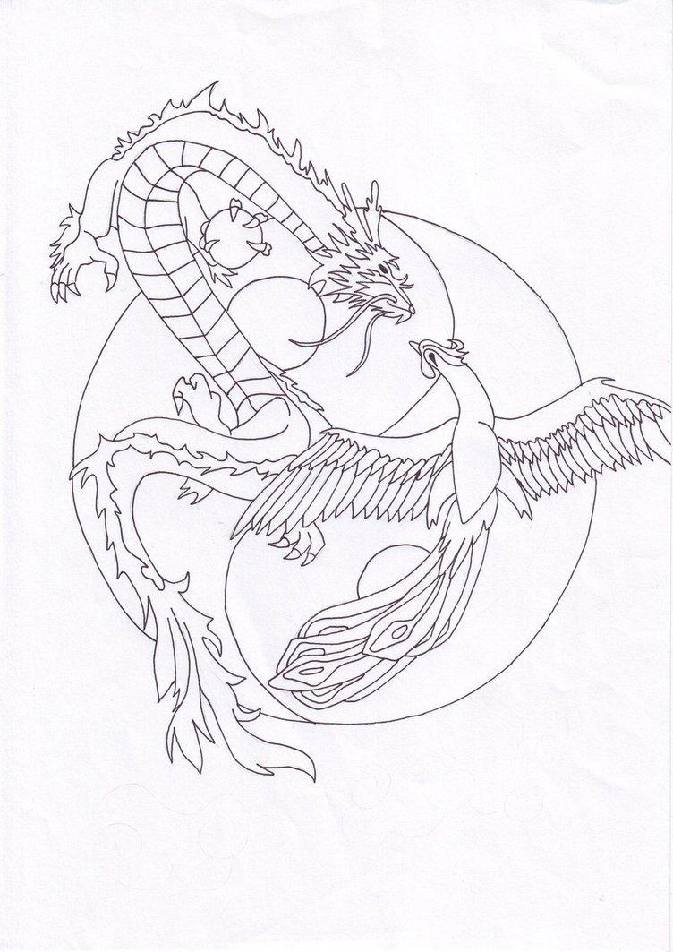 Drawn chinese dragon phoenix #1