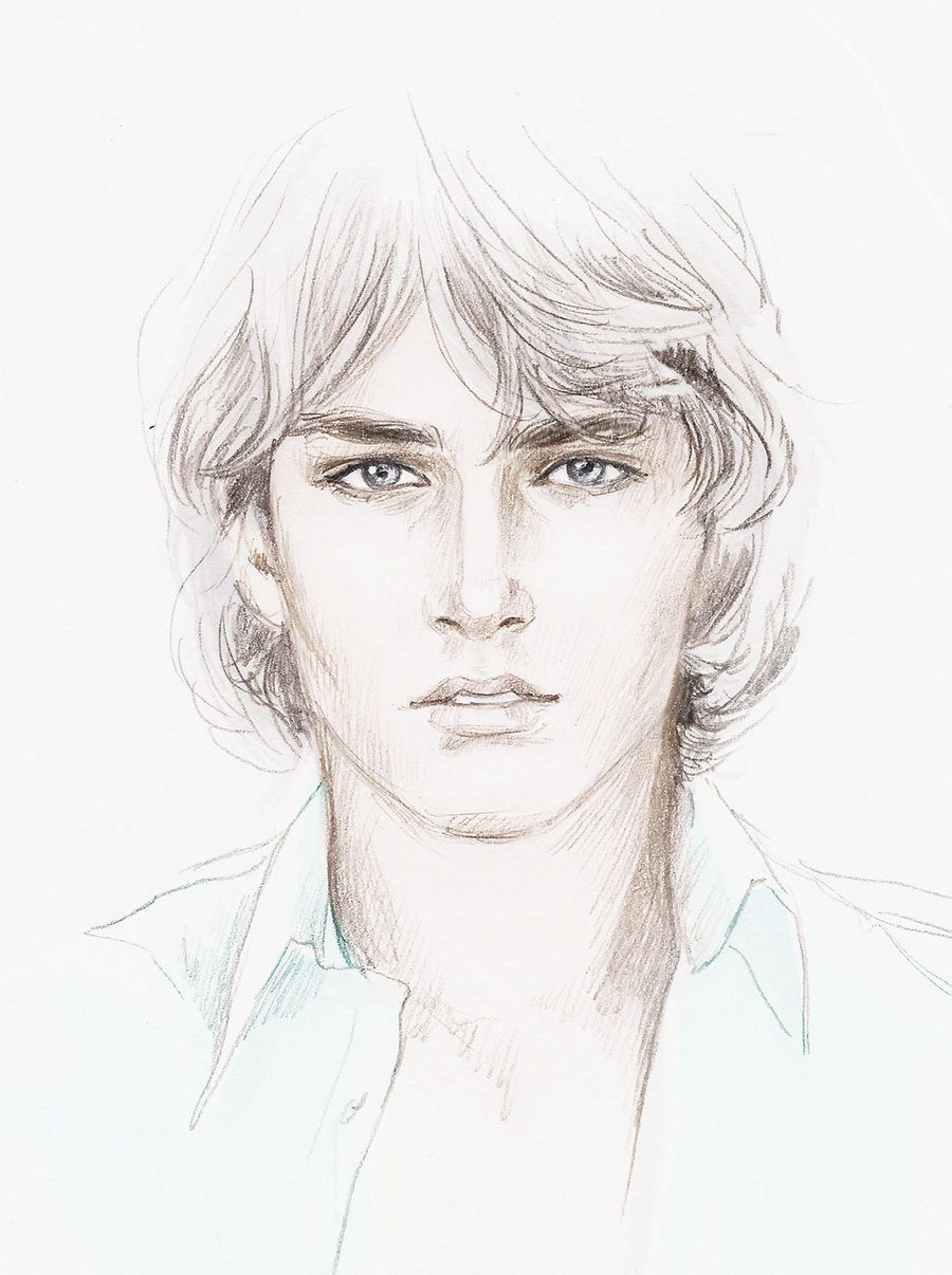 Drawn sad hair Male Human face sketch photo#9
