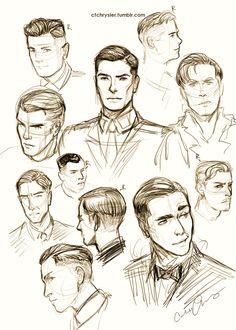 Drawn photos men's face How hair Face become