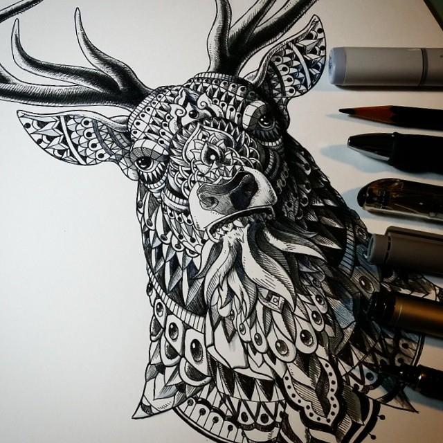 Drawn photos ornate Design A Buck Art Animal