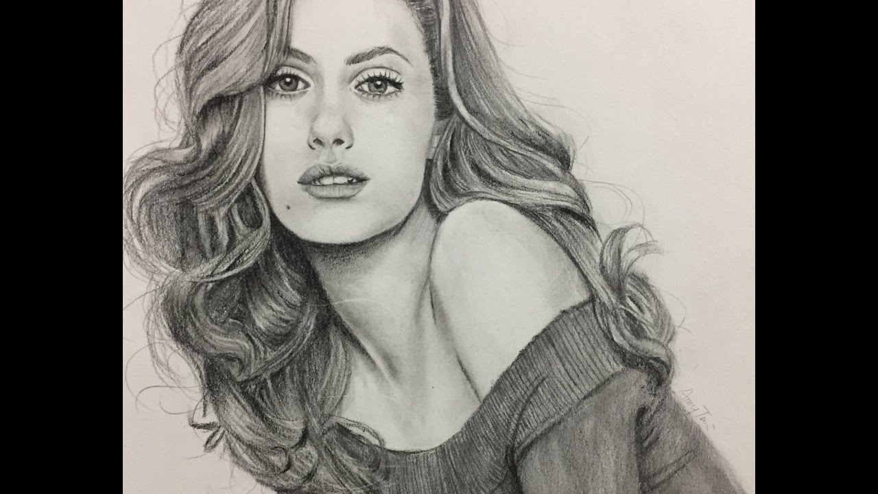 Drawn photos realistic A / draw with girl