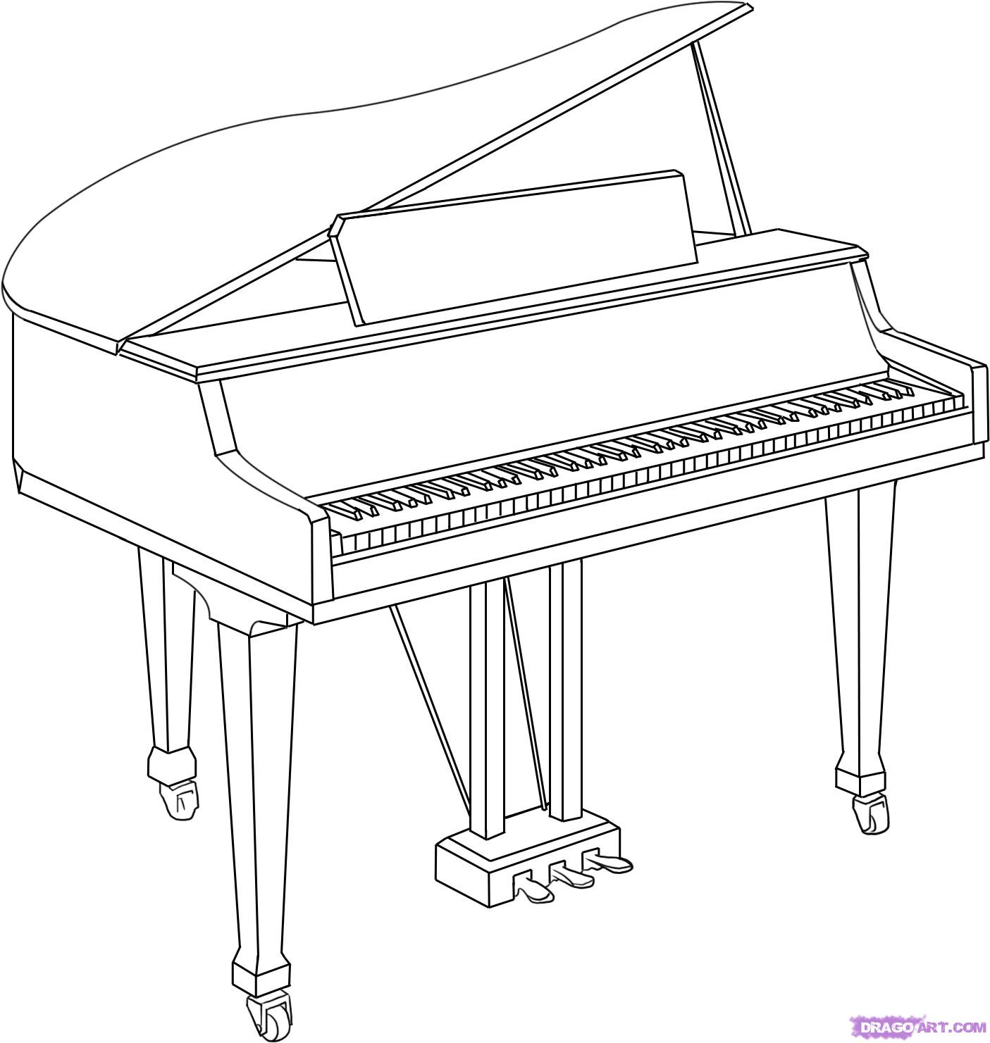 Drawn musical piano To 6 piano Step How