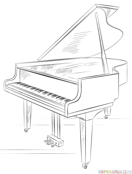 Drawn keyboard outline To Step grand step piano