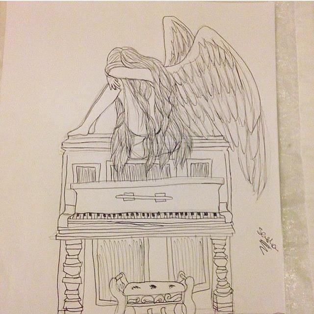 Drawn piano gothic — #art #angel angel angel