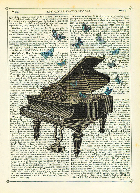 Drawn piano gothic Print Collage Art Dictionary Etsy