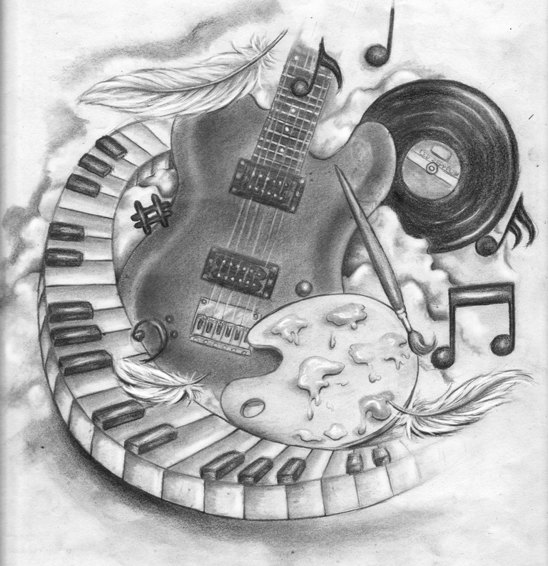 Drawn piano black and white Keys piano Guitar and Tattoo
