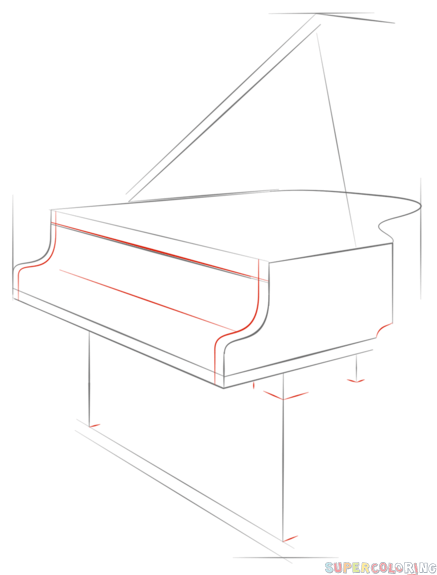 Drawn piano outline Grand tutorials piano Step Drawing