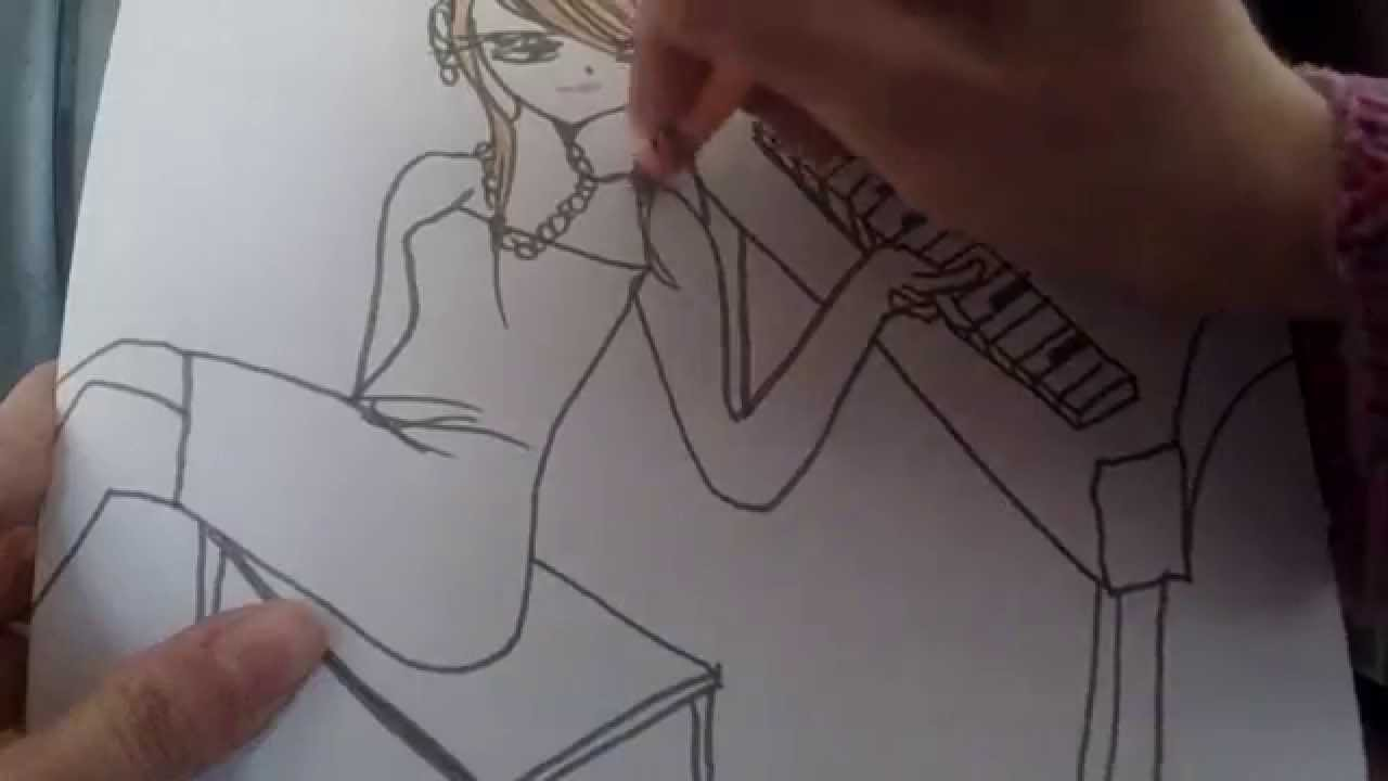 Drawn piano piano playing YouTube Playing Anime Draw How