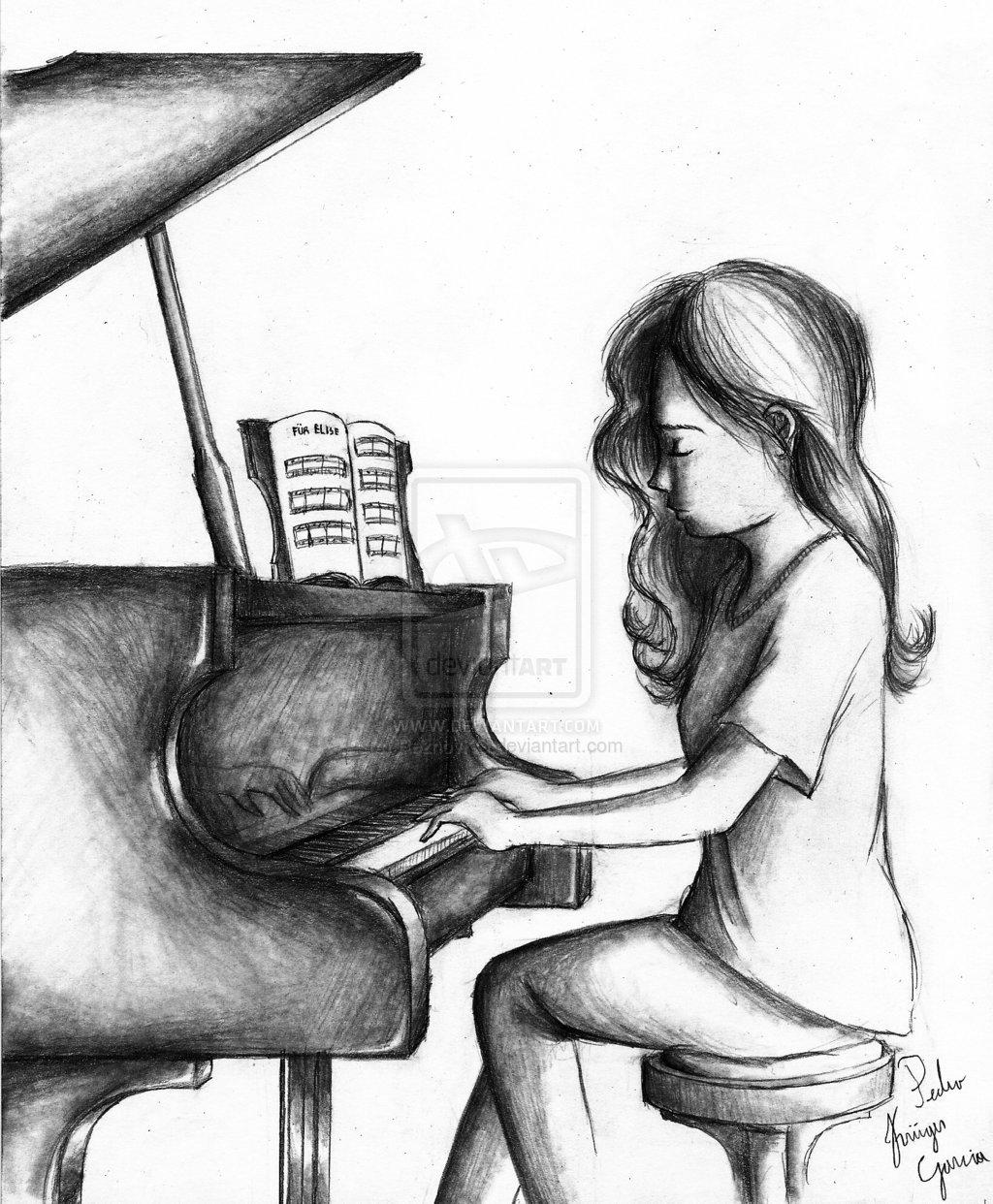 Drawn piano piano playing Drawing Piano Girl  Playing