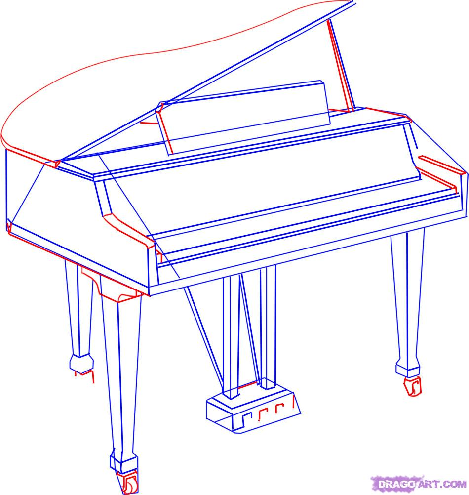 Drawn piano simple 4 a Draw Step Instruments