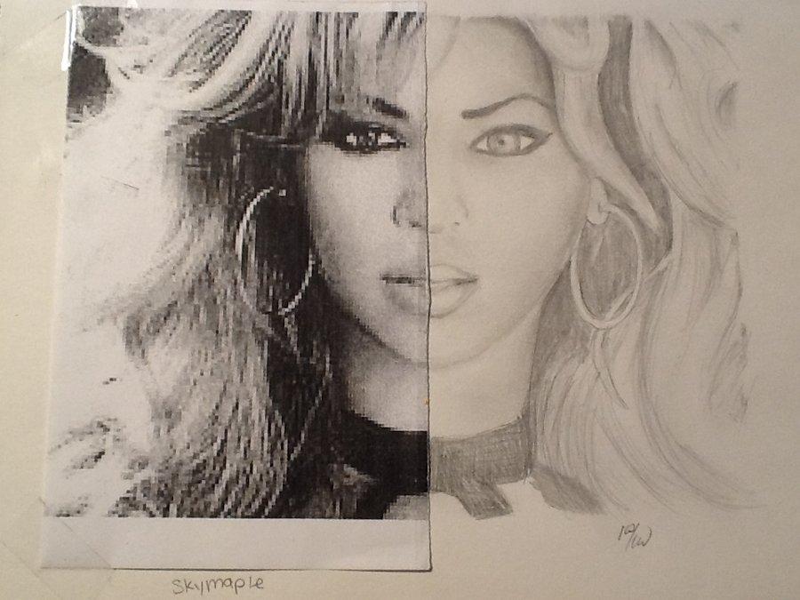 Drawn photos half Skymaple on Half Beyonce Drawn