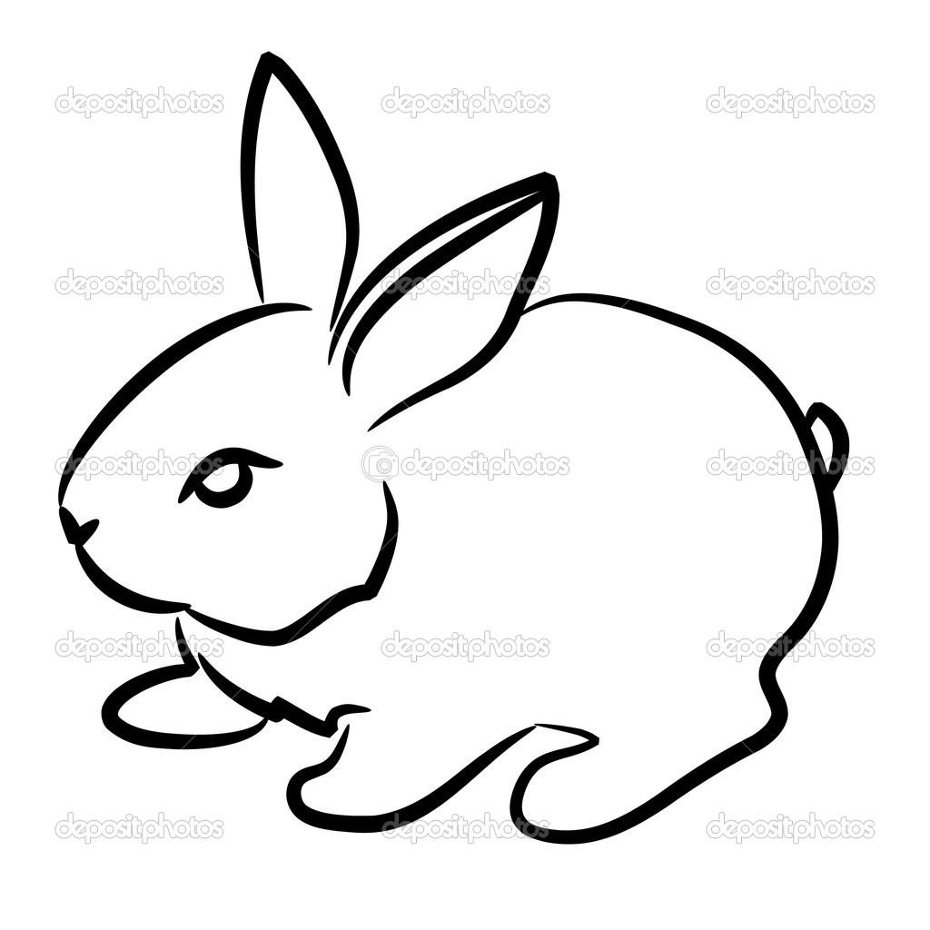 Drawn rabbit simple Contour easy+detsiled+rsbbut+drawing contour Rabbit beautiful