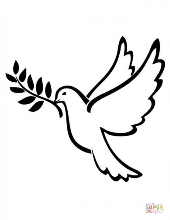 Peace Dove clipart coloring page #2