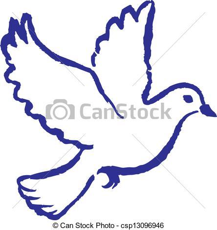 Drawn pice dove Vector dove EPS peace csp13096946