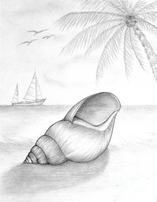 Drawn scenery beach Amor Moira / Art Canvas