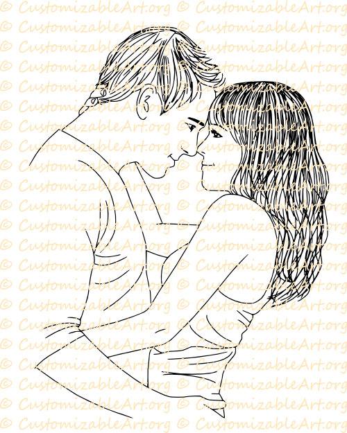 Drawn amd romantic Wife Stamp Couple Illustration Woman