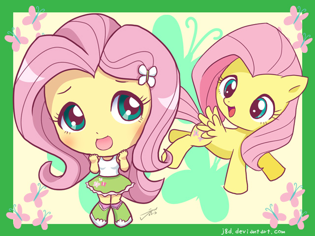 Drawn pie chibi Girls: DeviantArt J8d Fluttershy by