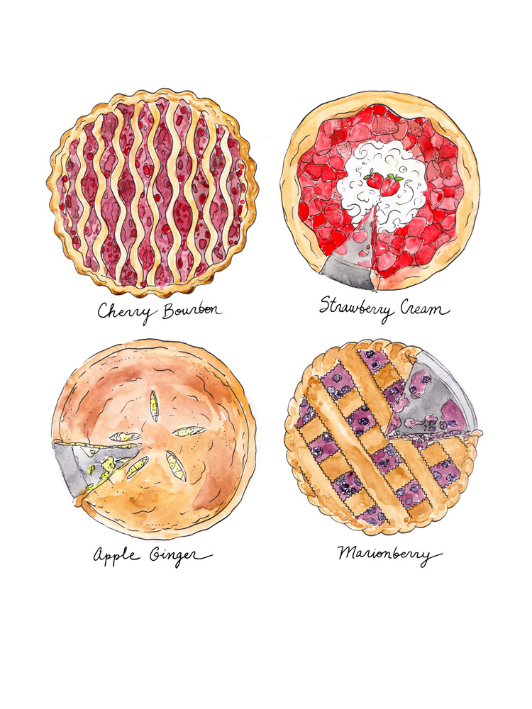 Drawn pie watercolor Illustration Art & painting This