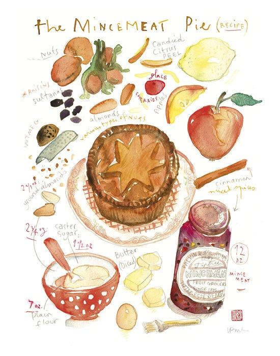 Drawn pie watercolor Water on Pinterest Food painting