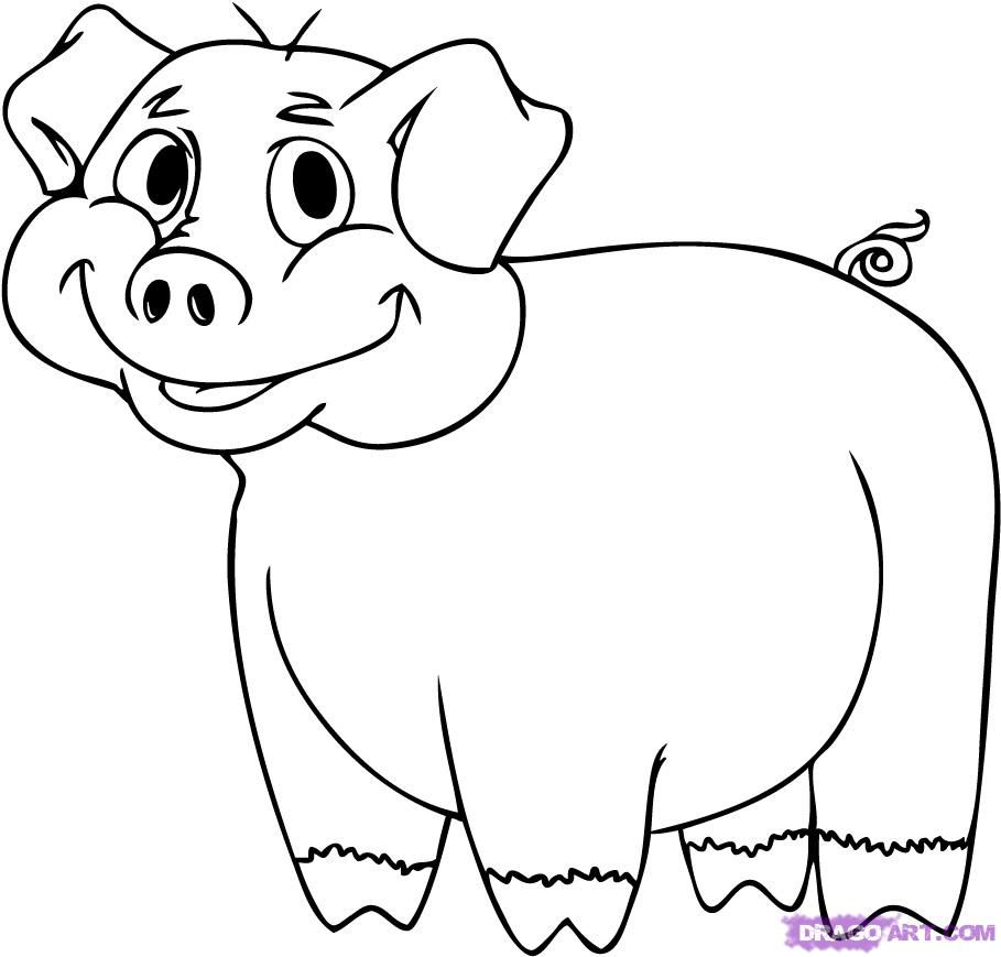 Drawn pig Step to a pig by