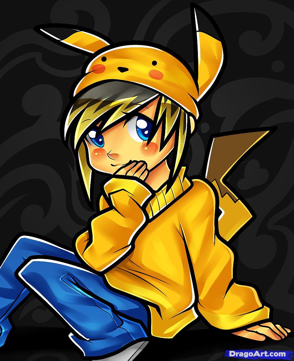 Drawn pikachu anime Step Human to  how