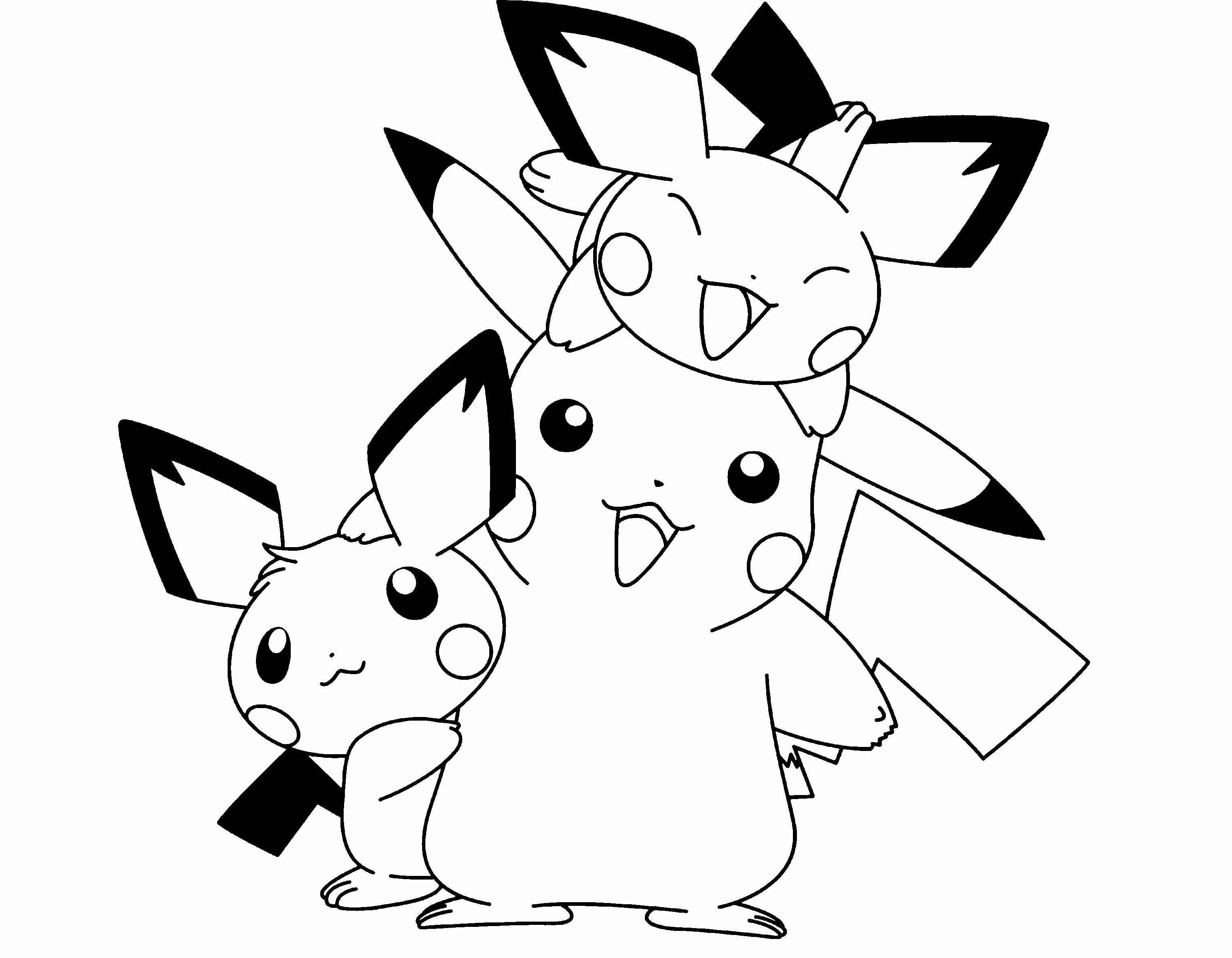 Pikachu clipart coloring page printable Coloring Cute Page Pokemon Pinterest