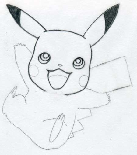 Drawn pikachu black and white Necessary to draw  lines