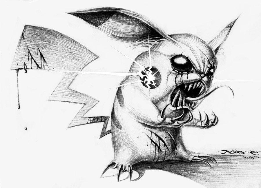 Drawn pikachu black and white Lol @deviantART Pikachu Evil on