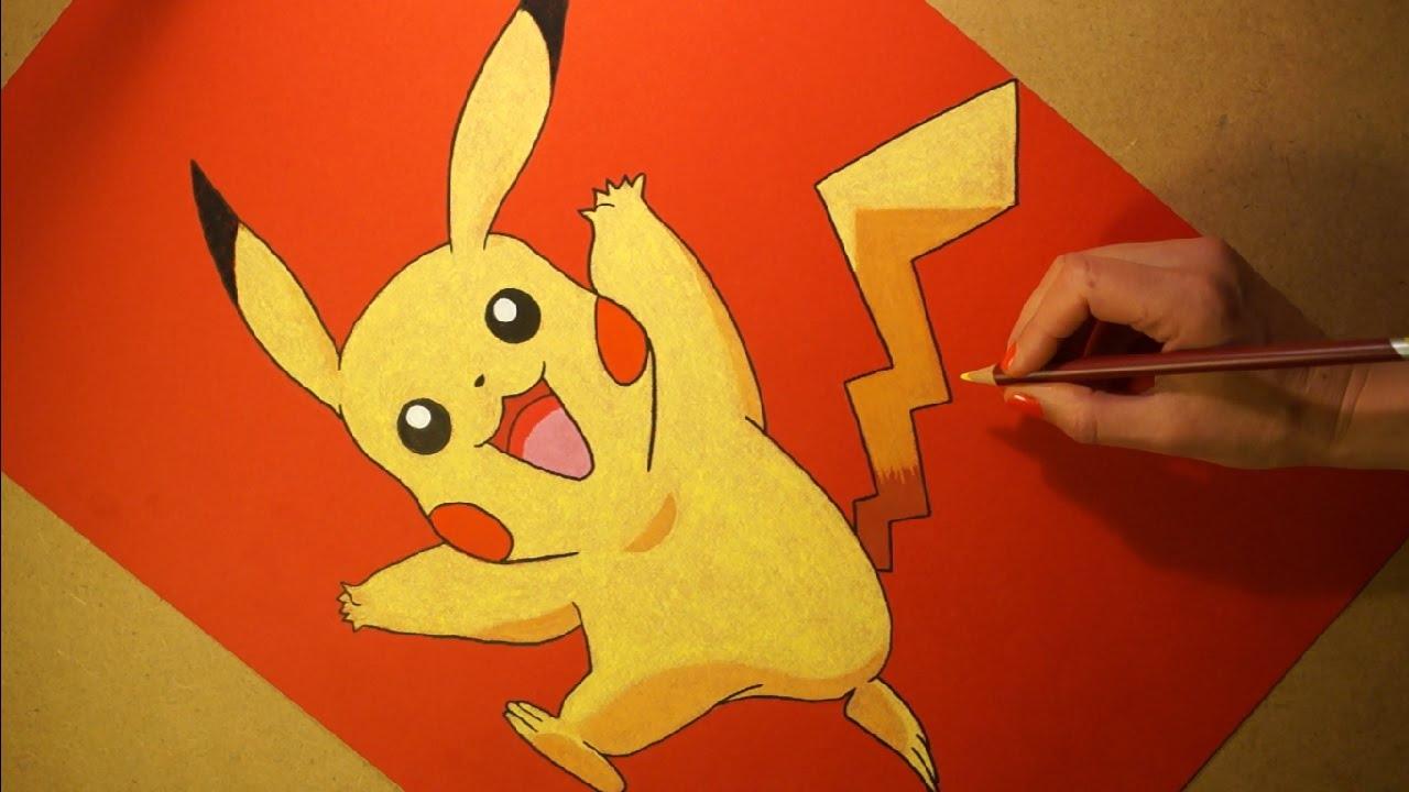 Drawn pikachu cartoon character Pikachu Pastel Soft Pokemon