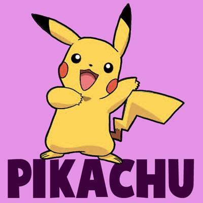 Drawn pikachu cartoon character 3  to of Pokemon