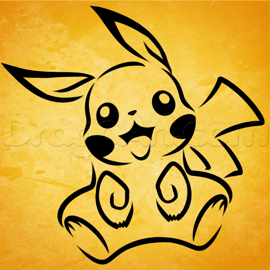 Drawn pikachu face Step to How Culture tribal