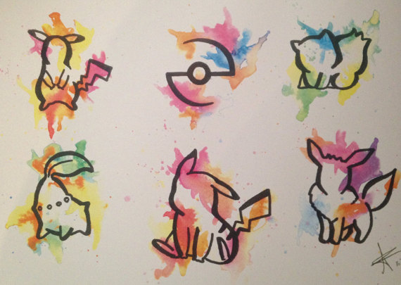 Drawn pikachu flash Print quality A4 watercolour quality
