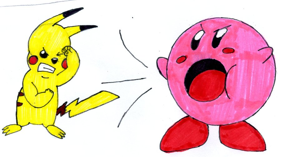 Drawn pikachu kirby Fire master and Kirby of