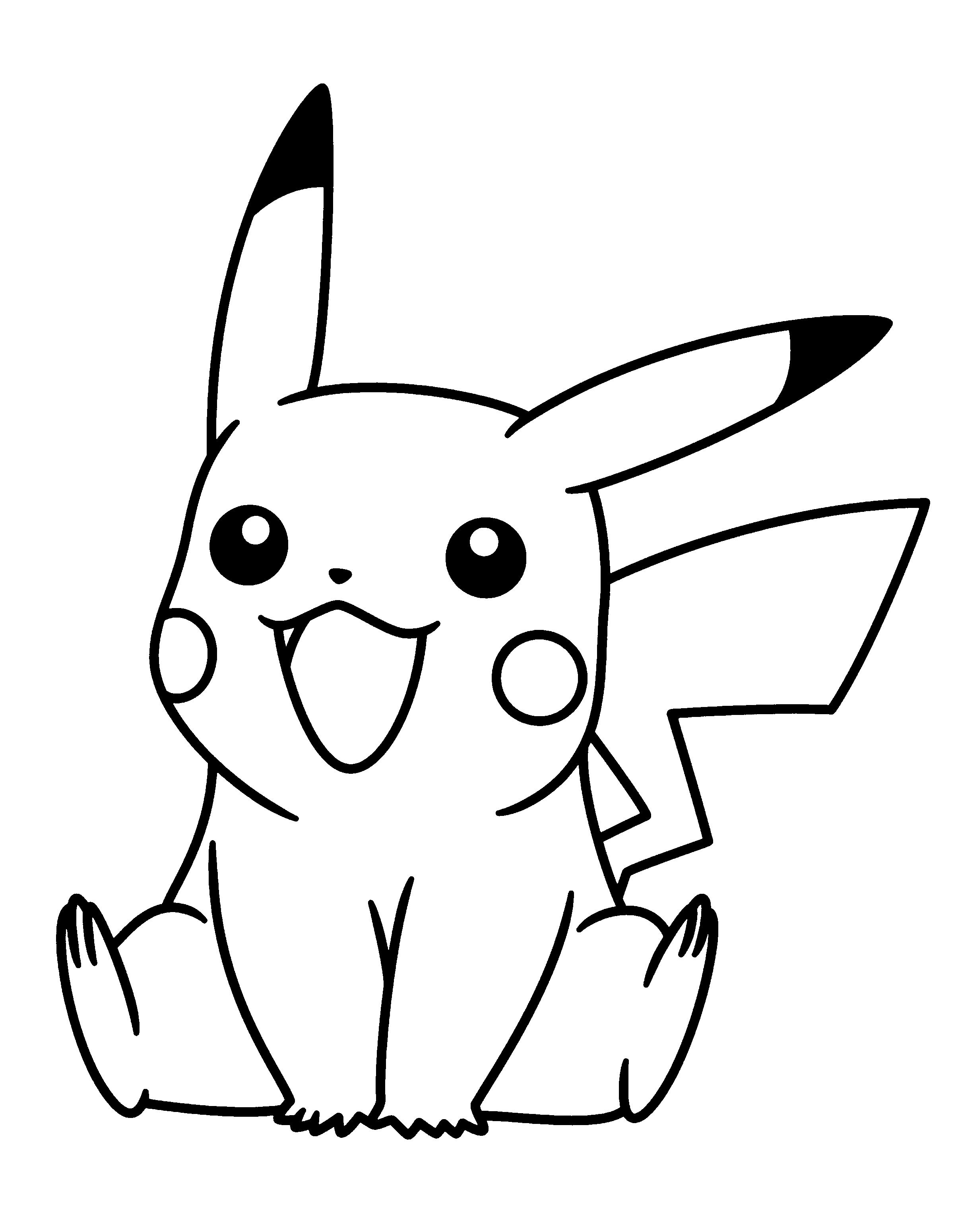 Pikachu clipart coloring page printable Pages coloring vinilos Pikachu Pinterest